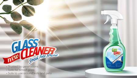 Glass cleaner ad in 3D illustration. Cleaner spray bottle package in stage against window and blur skyscrapers background