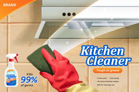 Kitchen cleaner spray ad template, realistic hand wearing rubber glove with a rug cleaning tiled wall in kitchen and chimney surface, 3d illustration. 向量圖像