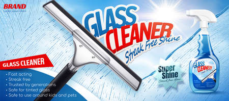 Glass cleaner ad in 3D illustration, Cleaning glass with a squeegee with bright sunshine. Spray bottle package design. 向量圖像