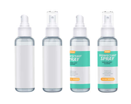 Set of disinfectant spray bottles in 3d illustration, elements isolated on white background, two with label design and two without