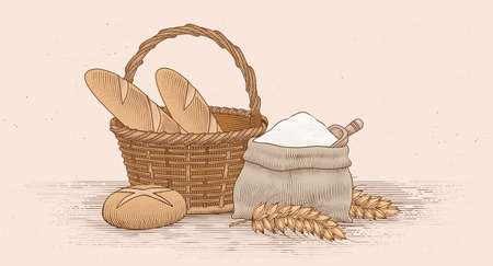 Bread and its baking utensils in colored engraving style. Illustration of bread loaves, wheat straws, and a burlap sack Ilustracje wektorowe