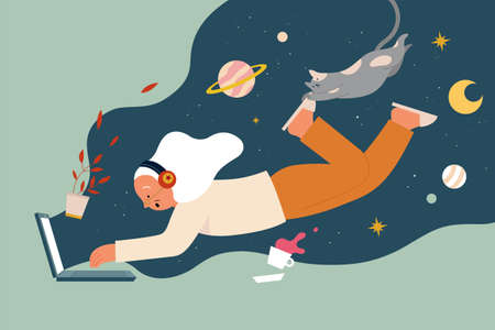 Flat illustration of elderly woman wearing headphones exploring space online on laptop, with stars and planet in background. Concept of multi-purpose Internet uses