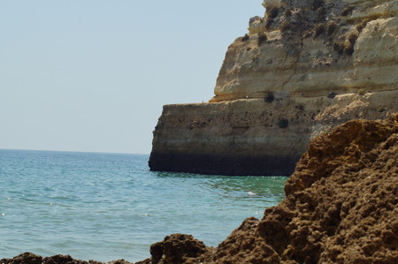 Portuguese landscape - Sea and rocks in Portugal Stock Photo