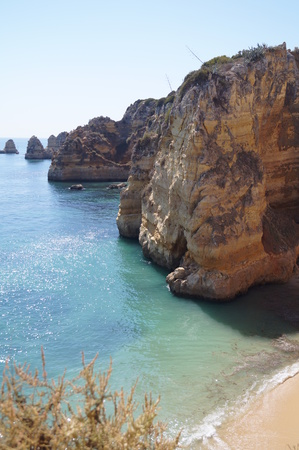 Portuguese landscape - Sea and rocks - The South of Portugal - Vertical view (sight) Stock Photo
