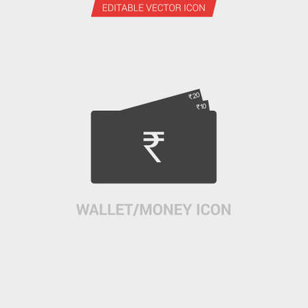 Portemonnee  geld pictogram donkergrijs nieuw trendy vlakke stijl vector symbool