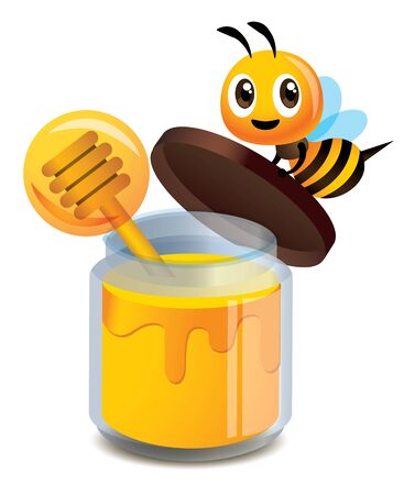 Cartoon cute bee open the clear glass bottle cap of honey  - Vector illustration isolated