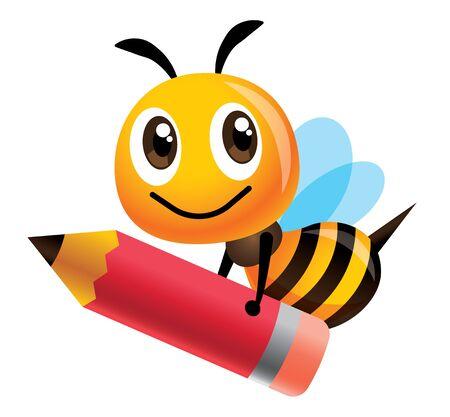 Cartoon cute happy bee mascot carrying a big red pencil