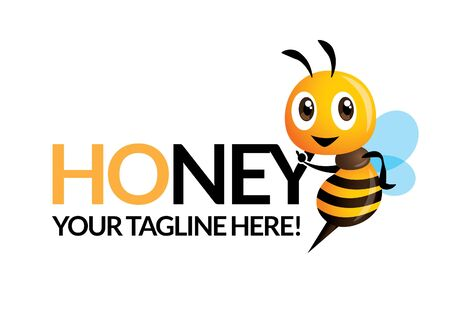 Cute bee with company name, vector mascot isolated