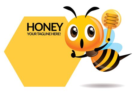 Cartoon cute bee one hand pointing to signboard, one hand holding a honey dipper. Stock Illustratie