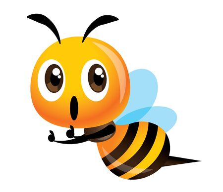 Cartoon cute bee thumb up with excited expression - vector character mascot illustration 일러스트