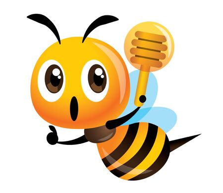 Cute bee holding a honey dipper with thumb up hand sign - vector
