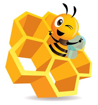 Cartoon cute bee stay inside the honey cell. 3D honey cells. Honeycomb