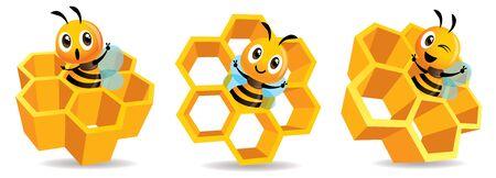 Cartoon cute bee mascot with honey cells set. Cartoon cute bee with big Honey Cells. Honeycomb