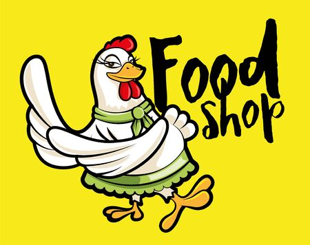 Cute cartoon female chicken hen character with big sign, vector illustration