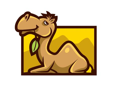 Cartoon cute camel holds a leaf in mouth character mascot vector illustration