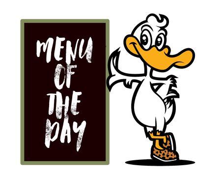 Cartoon duck standing beside the menu board, character illustration