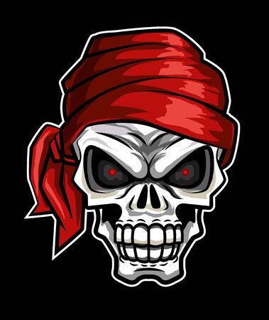 Retro vintage pirate skull head. Red bandana vector illustration with black background