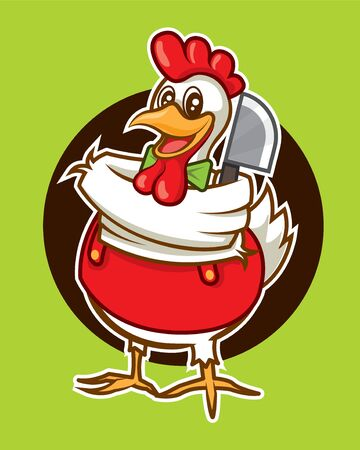 Cartoon cute chicken mascot character with cleaver vector illustration