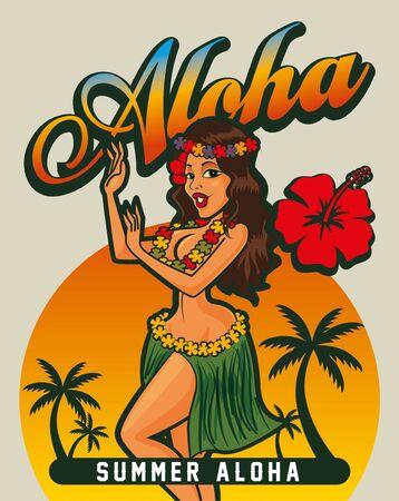 Summer hot sexy Hawaiian lady dancing at tropical beach, vector illustration