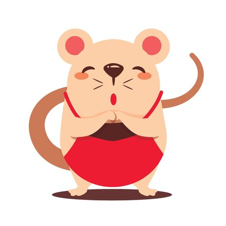 Cartoon cute rat with Chinese Dudou apron greeting Gong Xi Fa Cai. Chinese New Year. The year of the rat. - vector flat art