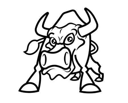Bull mascot character illustration - vector outline
