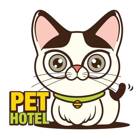 Cute cat sitting beside with pet hotel signboard. Cartoon cat