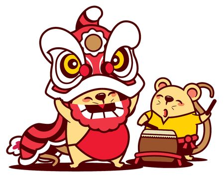 Cartoon cute rat enjoy with lion dance and cute rat playing drum. Chinese New Year 2020 - vector Illustration