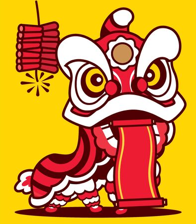 Cartoon Lion Dance with Chinese scroll and firecracker in yellow background. Happy Chinese New Year. - Vector