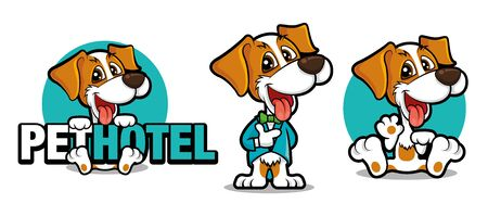 Cute dog holding a big signboard, Cute dog mascot series. Dog wears tuxedo with bowtie. Dog waving hand. Pet hotel