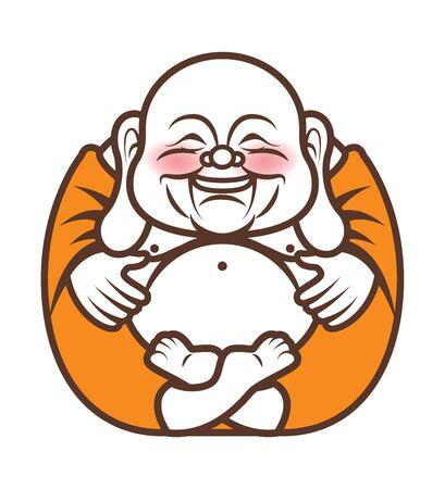 Niedliche mollige lange Ohren Glücklicher lachender Buddha-Charakterkarikatur. Vektor-Cartoon-Illustration. Religion - Vektor