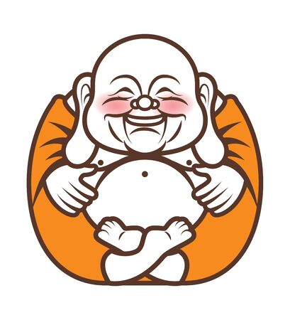 Cute Chubby long ears Happy Laughing Buddha character cartoon. Vector cartoon illustration. Religion - vector