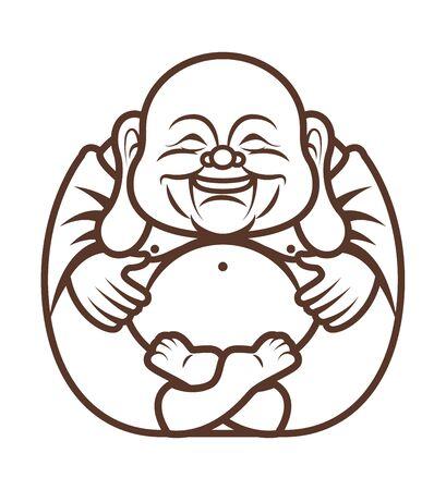 Malbuch. Netter molliger glücklicher lachender Buddha-Charakterkarikatur. Vektor-Cartoon-Illustration. Religion - Vektor