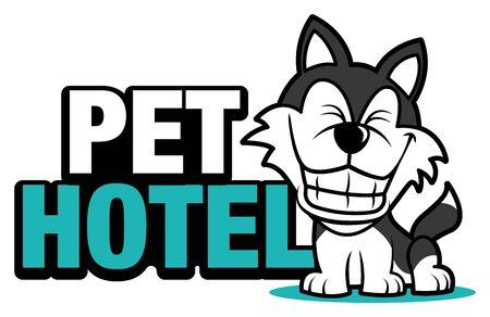 Cute big smile husky dog mascot with a big signboard