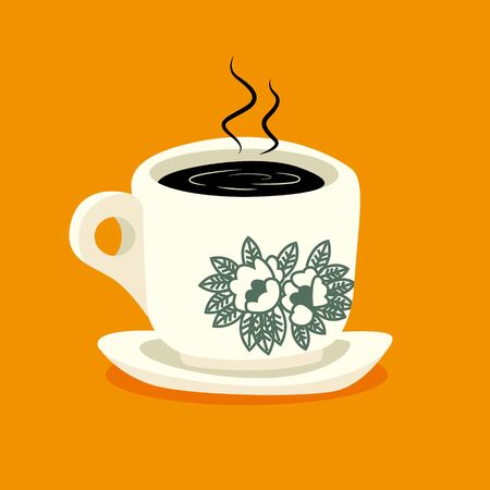 Traditional oriental style coffee on orange colour background - flat art vector icon Illustration