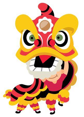 Danza tradicional del león para el año nuevo chino - vector de arte plano