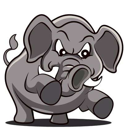 Angry elephant with strong trunk cartoon character - vector mascot