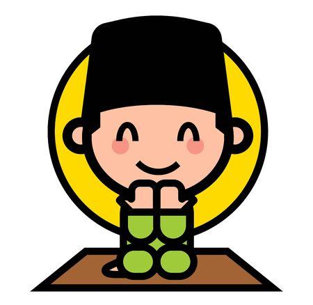 Selamat Hari Raya Aidilfitri. Cute muslim kid praying in ramadan. Muslim character wearing Songkok and praying. - vector cartoon Çizim