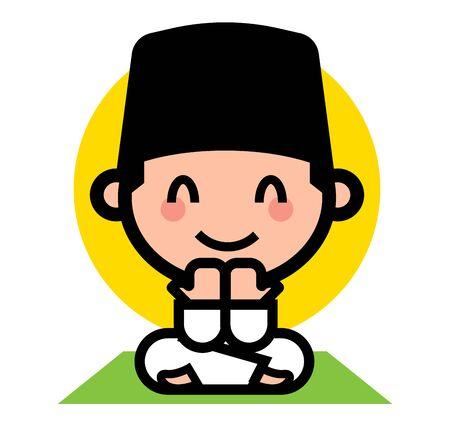 Selamat Hari Raya Aidilfitri. Cute muslim kid praying. Muslim cartoon character wearing Songkok. - vector