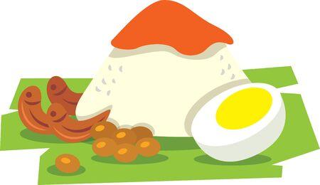 Flat art of Nasi Lemak. Traditional malay food. Nasi Lemak rice with boiled egg, peanuts, banana leaf. Spicy Sambal on top of rice. - vector Illusztráció