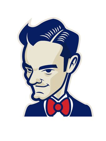 Barbershop. Retro gentleman with red bowtie - Vector mascot Illustration