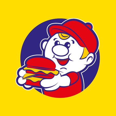 burger delivery boy mascot holding a big yummy burger - vector character illustration mascot Illustration