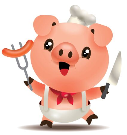 Cute chef pig holding knife and fork with big sausage. Happy pig character illustration.