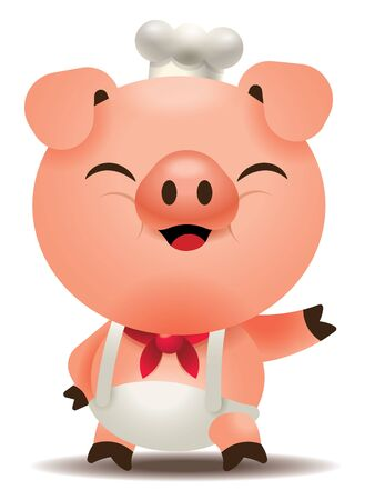 Cute pig chef welcoming with hand. Vector Pig character isolated.