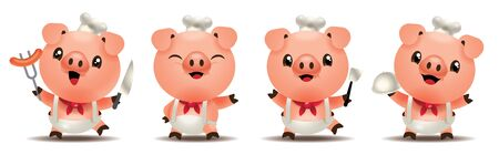 Cartoon cute pig chef mascot series. Cartoon cute pig holding kitchen tools. vector illustration isolated