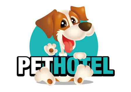 Character cute dog holding a pet hotel signboard, vector illustration, signage