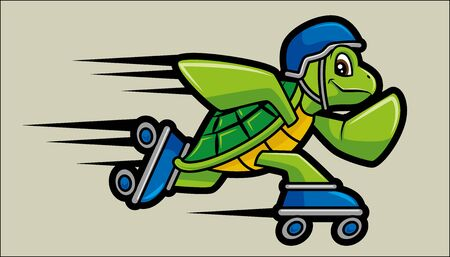 Vector illustration of Roller Skating turtle character mascot