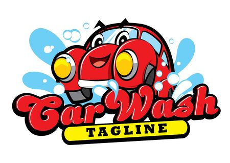 Cute Happy red car character cartoon for car wash