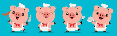 Cartoon cute pig chef mascot series. Cartoon cute pig holding kitchen tools
