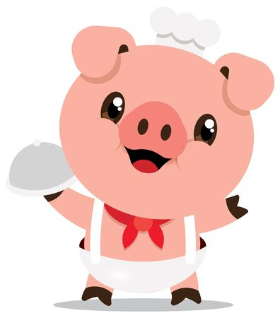 Cute pig chef cartoon character carries serving tray. Cartoon vector mascot isolated. - Flat art vector