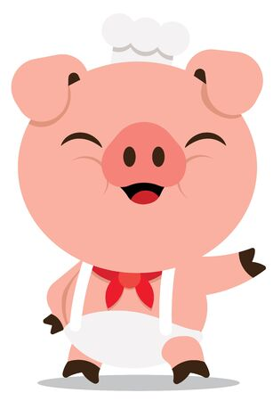 Cute pig chef welcoming with hand. Vector Pig character isolated. - Flat art vector